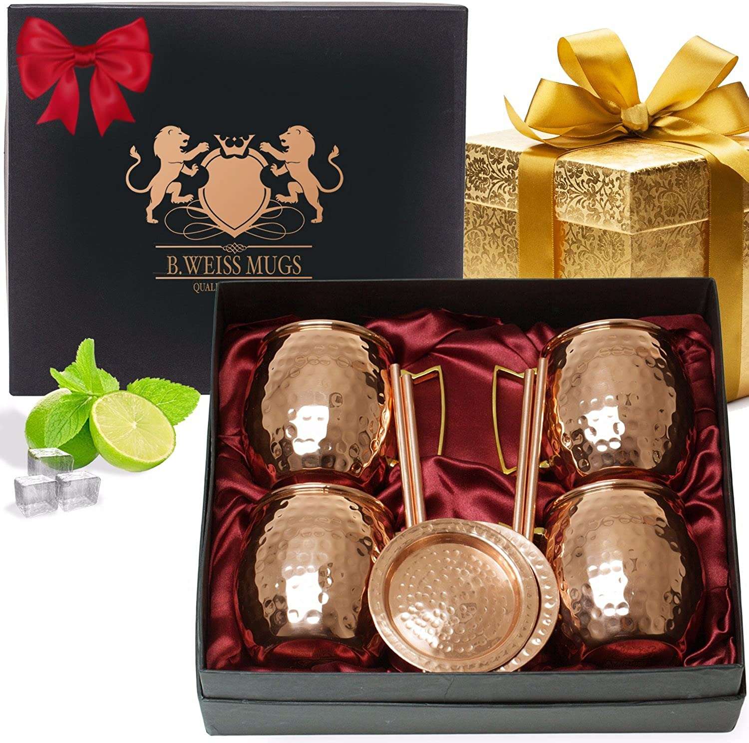 Copper Mugs Moscow Mule Set Of 4, By B.WEISS Handmade Hammered Copper Cups 100% Pure Copper Comes in an elegant gift box+Bonus  4 copper straws+4 copper coasters