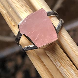 Natural Pink Morganite 925 Solid Sterling Silver Raw Uncut Gemstone Ring Size 7.75