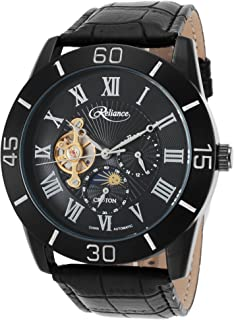 Mens Reliance Automatic Multifunction Leather Watch (Black/Black)