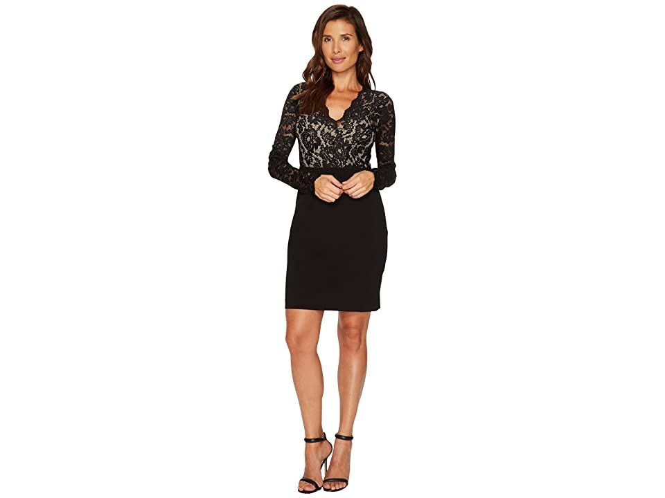 Karen Kane Becca Contrast Lace Dress (Black/Nude) Women