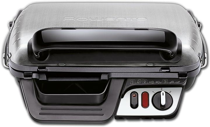 Bistecchiera con 3 posizioni di cottura, facile da pulire, potenza 2000 w rowenta gr3060 ultra compact comfort