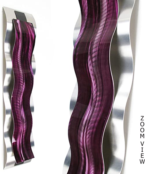 Rhythmic Curves Purple Vertical Modern Abstract Metal Wall Art Sculpture Purple Painting Home Decor