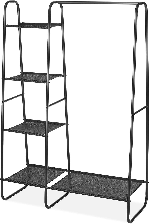 Whitmor Freestanding Wardrobe w Fine Mesh Fabric Shelves for Portable Clothing Storage, Black