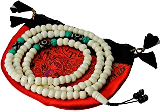 Tibetan Mala Yak Bone Mala 108 Beads with Two Eye Dzi Beads Spacers for Meditation