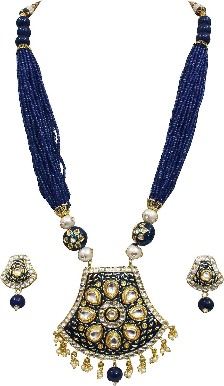 Babosa Sakhi Blue Meenakari Pendant Set Jaipuri Pearl Indian Traditional Kundan Necklace Jewelry