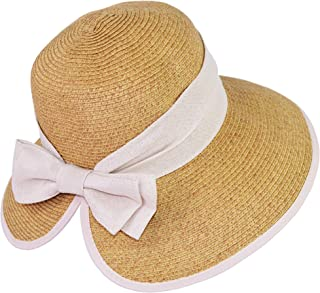 UPF 50+ Floppy Sun Hat w/Large Canvas Bow, Large Ponytail Summer Beach Visor Hat