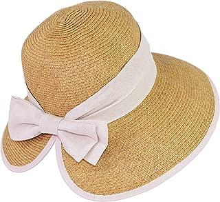 UPF 50+ Floppy Sun Hat w/Large Canvas Bow, Large Ponytail Summer Beach Visor Hat