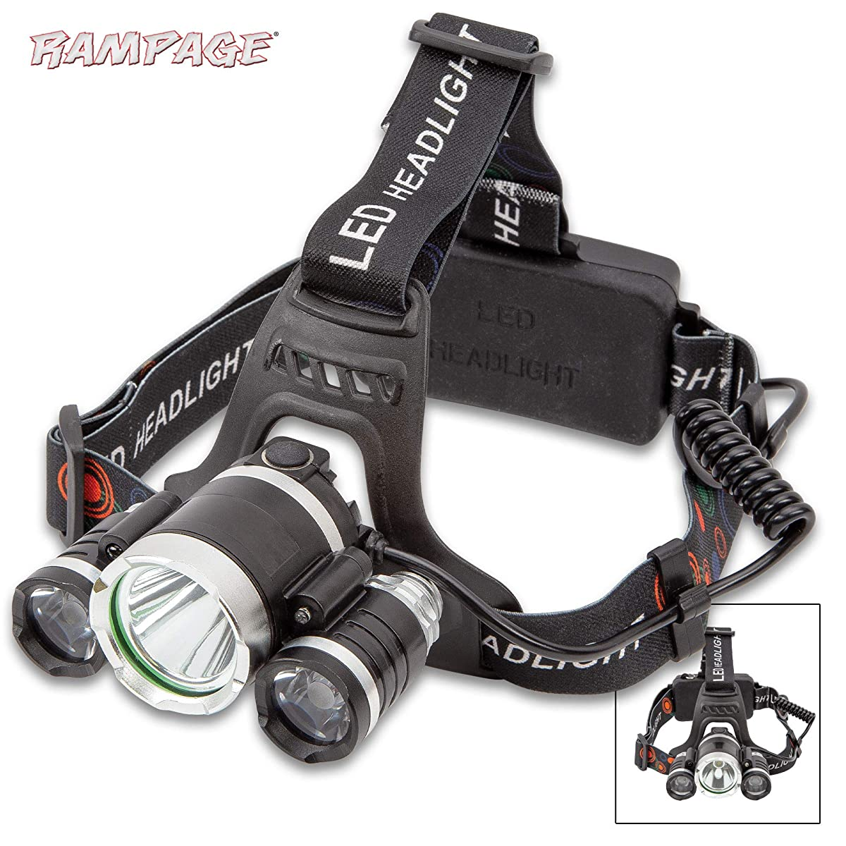 K EXCLUSIVE Rampage Three-Mode LED Water-Resistant Headlamp - Three CREE Lights, Tough Housing, Adjustable Elastic Head Strap, Included Charger