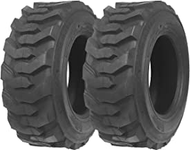 Set of 2 New ZEEMAX Heavy Duty 12-16.5/12PR G2 Skid Steer Tires for Bobcat w/Rim Guard