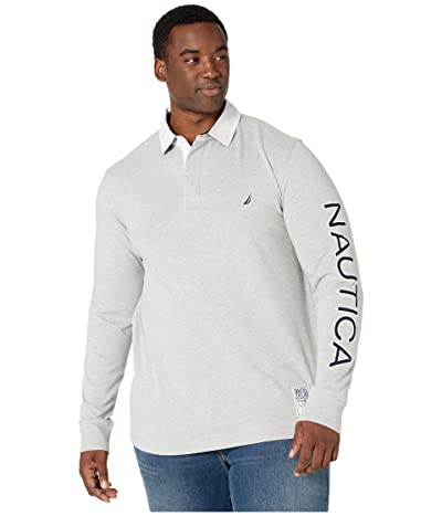 Nautica Big & Tall Big Tall Long Sleeve Logo Rugby (Grey Heather) Men