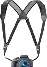 USA GEAR DSLR Camera Strap Chest Harness with Quick Release Buckles, Black Neoprene Pattern and Accessory Pockets - Compat...