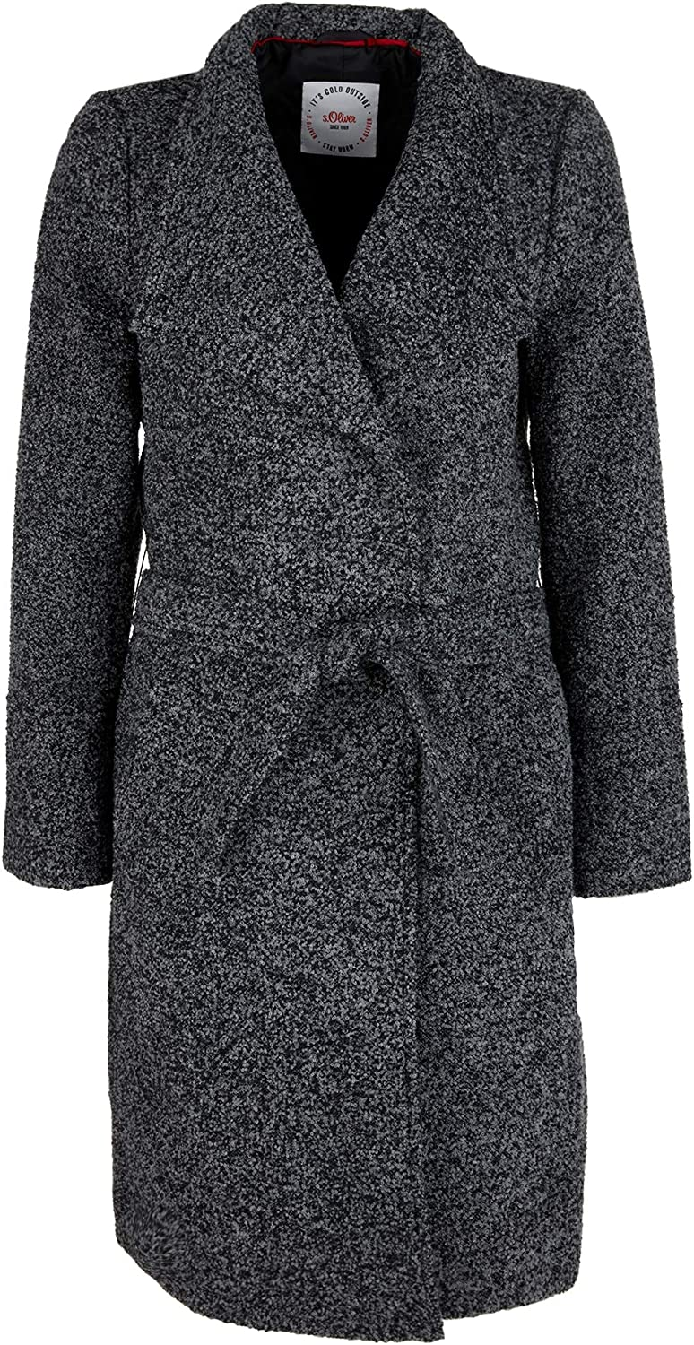 s.Oliver Damen Bouclé-Mantel in Woll-Optik Black Tweed