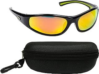 Strike King Plus SG-SKP20-CS Kulik Polarized Sunglasses Bundle, Shiny Black Frame with Multi Layer Orange Mirror Gray Base Lens, with Black Case