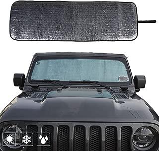 Front Windshield Sunshade Car Sun Shade Heat Shield JL Custom-fit Sunshade Sun Visor Mat for 2018 2019 Jeep Wrangler Rubicon Sahara JL 2/4 Doors