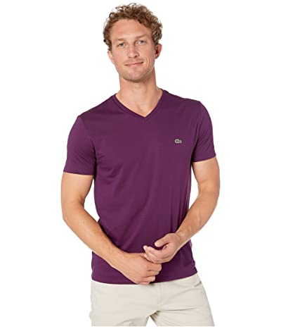 Lacoste Short Sleeve Pima Jersey V-Neck T-Shirt (Eggplant) Men