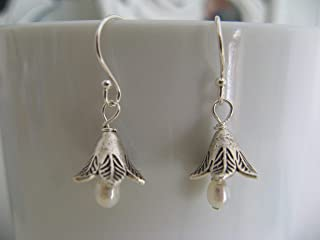 Vintage Style Cultured Pearl Sterling Silver Blossom Earrings Artisan Jewelry
