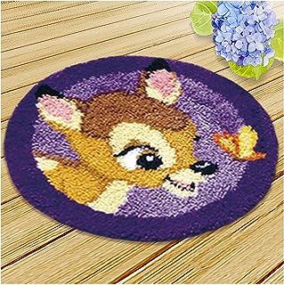 Kits De Crochet De Loquet Bricolage pour Adultes, Tapis À Motif Faon, Motif Imprimé Crochet Battedwork Crafts pour Enfants...