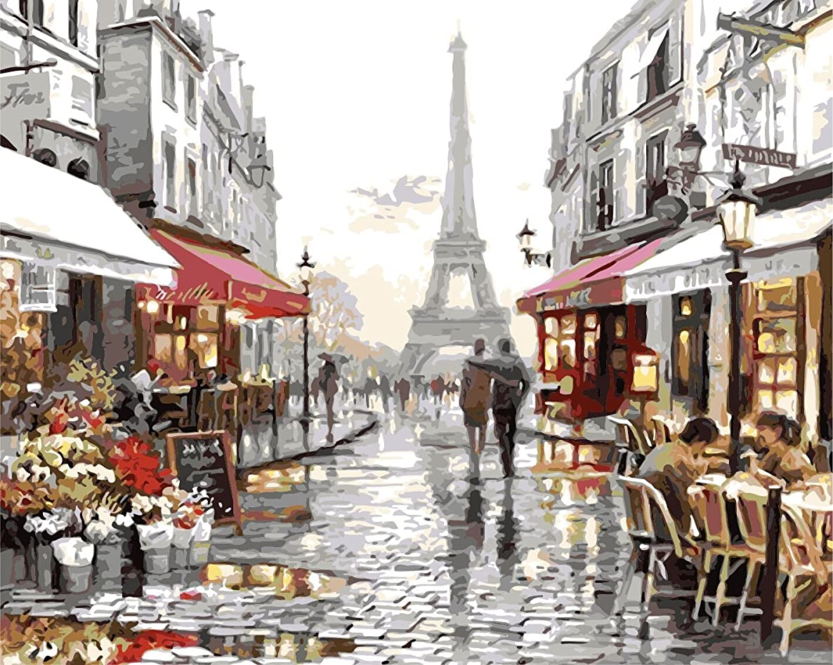 SuperDecor Paint by Numbers Kit DIY Oil Painting for Adults Kids Beginner Romantic Lover on The Street of Paris 16x20 Inch
