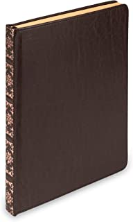 Samsill Vintage Hardcover Notebook, Large PU Leather Writing Journal, 7.5 x 10 Inch, 100 Parchment Style Ruled Sheets (200 Pages), Dark Brown