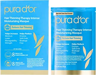 PURA D'OR Hair Thinning Therapy Intense Moisturizing Masque (8-Pack) Deeply Hydrating Treatment Mask, Infused with Natural Ingredients, For All Hair Types, Men & Women (Packaging may vary)