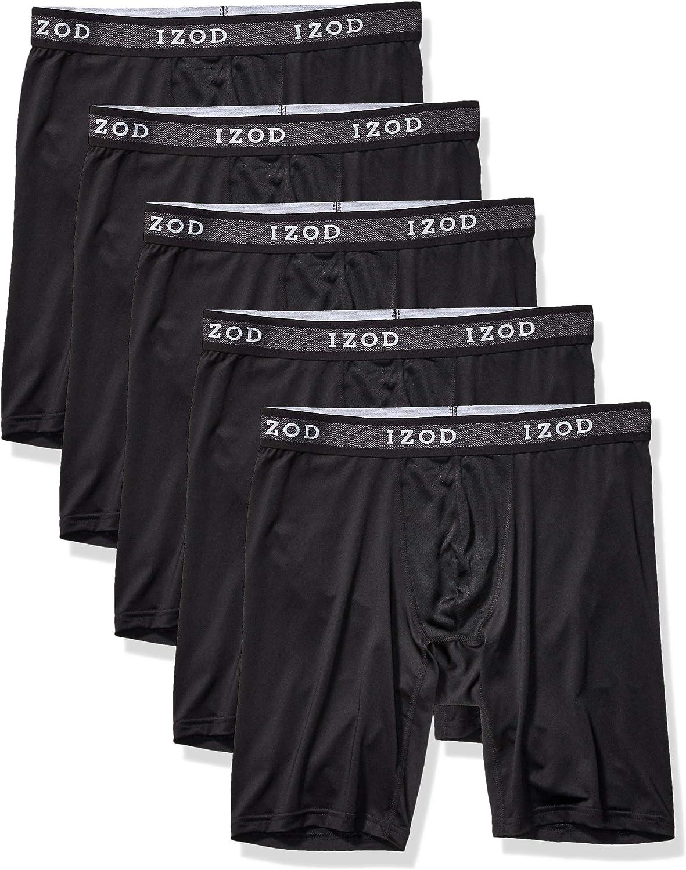 IZOD Men's Underwear – Long Leg Performance Boxer Briefs (5 Pack)