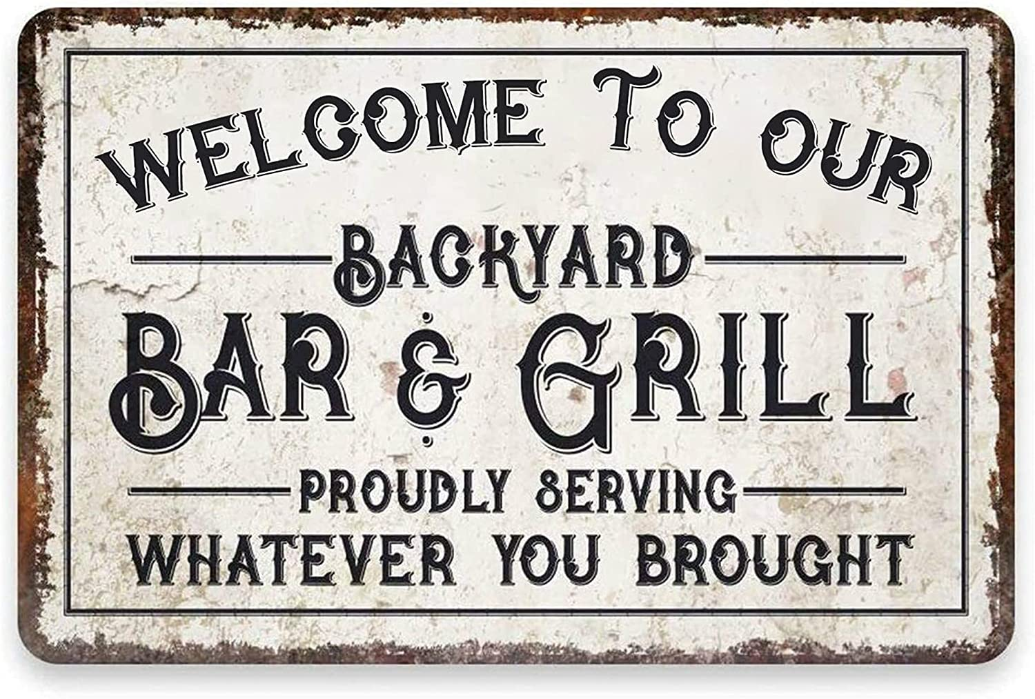 Backyard Bar & Grill Signs Personalized Decor Wall Sign for Barbeque Restaurant Patio