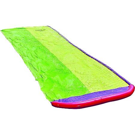 15.7 FT/Lawn Water Slides Slip Double Slide Rainbow Slip Slide Play Center with Splash Sprinkler and Inflatable Crash Pad for Kids Children Summer Backyard Swimming Pool Games Outdoor Water Toys