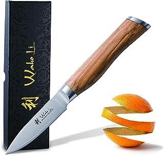 Wakoli Oliven - Cuchillo de damasco (mango de madera de olivo con hoja de damasco, acero de damasco)