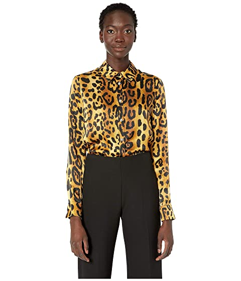 Adam Lippes Printed Hammered Silk Fitted Menswear Shirt