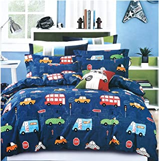 ADASMILE A & S Boys Bedding Set Queen Size Blue Cars Pattern Toddler Kids Duvet Cover Set Cartoon Modern London City Cars Print 3-Piece(No Comforter Included)