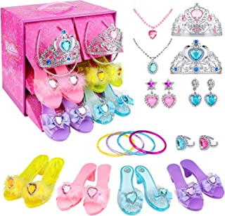 Teuevayl Girls Princess Dress Up Shoes and Jewelry Boutique, Princess Role Play Shoes Collection Set with 4 Pairs of Shoes...