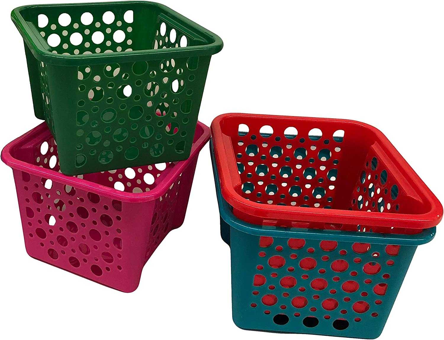 Storage Pantry Organization Baskets for Shelf Stackable Bins for Classroom Library Organizing Toy Green Set of 4 Under Sink Organizer (Assorted, 4)