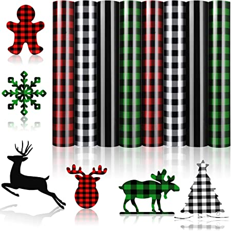8 Sheets Christmas Buffalo Plaid Iron-on Vinyl PU HTV Heat Transfer Adhesive Vinyl Sheets Patches for T-Shirts,Fabric Red, White-Black, Green, Leopard 12 x 10 Inch