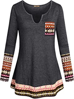 Womens Casual Long Sleeve Curved Hem Loose fit Henley V Neck Tunic Shirt