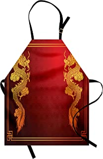 Ambesonne Dragon Apron, Chinese Heritage Historical Eastern Motif with Creature Design, Unisex Kitchen Bib with Adjustable Neck for Cooking Gardening, Adult Size, Orange Yellow