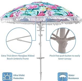 South Bay Board Co. Premium Beach Umbrella - Large & Luxurious 7ft Beach Umbrella || Includes Sand Anchor, Windproof Vent, Tilt Pole, Tassels, Cup Holders, Towel Hooks, Carry Bag