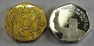 Par de Monedas conmemorativas de Winston Churchill & Ve. Oro de 24 Quilates y Plata