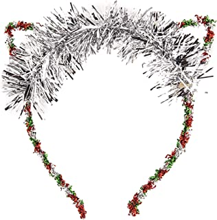 Lux Accessories Red Green Tinsel Foil Silver Tone Cat Ears Costume Christmas Fashion Headband