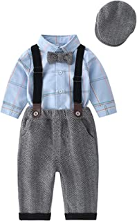 Boarnseorl Baby Boys Long Sleeve Gentleman Outfit Suits Set,Blue Shirt+ Pant+Suspenders+Bowtie+Cap