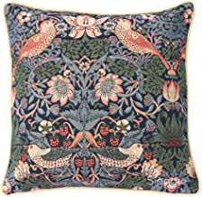 Signare Blue Floral William Morris Cushion Cover Designer Decorative Sofa Couch Pillow   Strawberry Thief (CCOV-STBL)