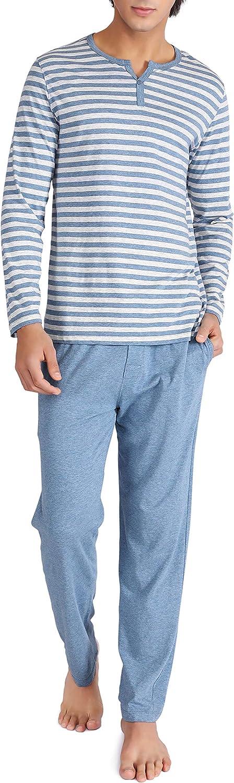 DAVID ARCHY Men's Cotton PJs Heather Striped Sleepwear Lounge Wear Top & Bottom Pajama Set