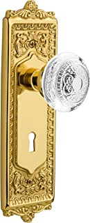 "Nostalgic Warehouse 751454 Plate with Keyhole Crystal Egg & Dart Privacy Door Knob, 2.375"", Polished Brass"