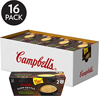 Campbell's Slow Kettle Style Microwave Soup, Creamy Broccoli Cheddar Bisque, Lunch Snack, 7 Oz Cup, 2 Count (Pack of 8)