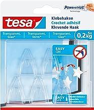 tesa Adhesive Hook for Transparent & Glass 0.2 kg, wit