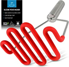 Zulay Potato Masher with Premium Silicone-Coated Stainless-Steel Design, Protects Non-Scratch Cookware for Smooth Mashed Potatoes, Vegetables and Fruits - Versatile Masher Hand Tool & Potato Smasher