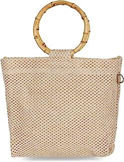 styleBREAKER Damen Henkeltasche mit Bambus Henkel in halb transparenter Häkel Optik, Handtasche, Tasche 02012286, Farbe:Beige