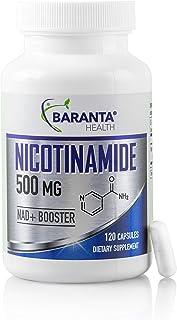 Baranta Health Nicotinamide 500mg 120 Capsules Supplement: Flush Free Vitamin B3 Niacinamide NAD Supplement for Skin Healt...