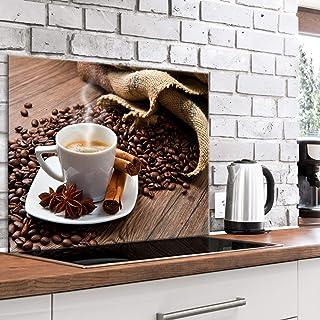 murando Panel de Vidrio para Cocina 80x60 cm Vidriopanel Protector Pantalla Antisalpicaduras Salpicadero con Gráfica Panel Decorativo Motivo Cafe Coffee - j-B-0070-aq-e