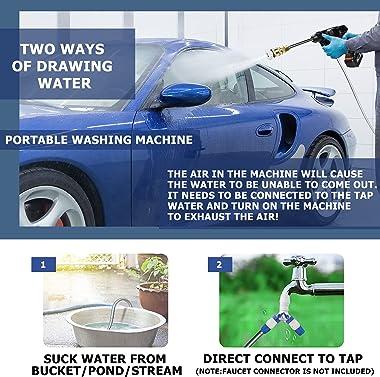 Wlretmci Cordless Pressure Washer, 5600mAh 200W Max 435PSI Portable Power Washer Cleaner Battery Powered High Pressure Car Wa
