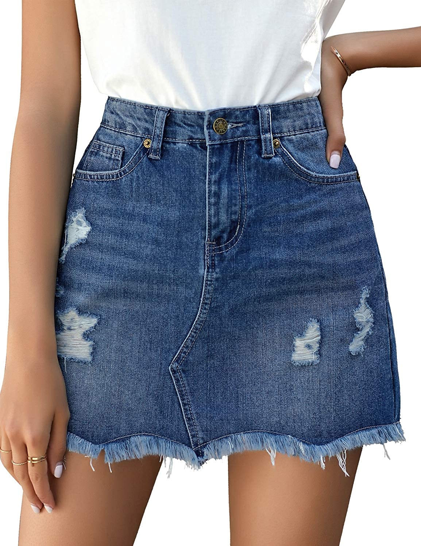 luvamia Women's Casual Mid Waisted Washed Frayed Pockets Denim Jean Short Skirt